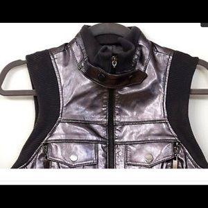 Bebe Sport Black Leather Vest